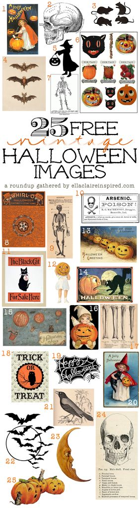 25 FREE Vintage Halloween Images for you to download and use for all of your Halloween crafts and decor!