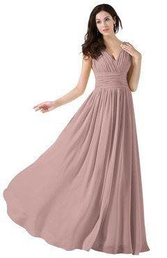 6df77812610f4 ColsBM Alana Blush Pink Elegant V-neck Sleeveless Zip up Floor Length  Ruching Bridesmaid Dresses