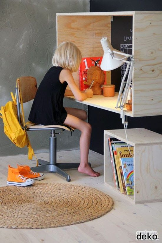 DIY Desk Inspiration for a Kids Room: Craft a box out of plywood and hang it up as a modern desk solution.