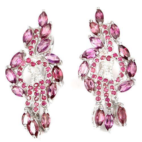 GORGEOUS NATURAL PINK RHODOLITE GARNET-RED RUBY STERLING 925 SILVER EARRINGS NR in Jewelry & Watches, Fine Jewelry, Fine Earrings | eBay