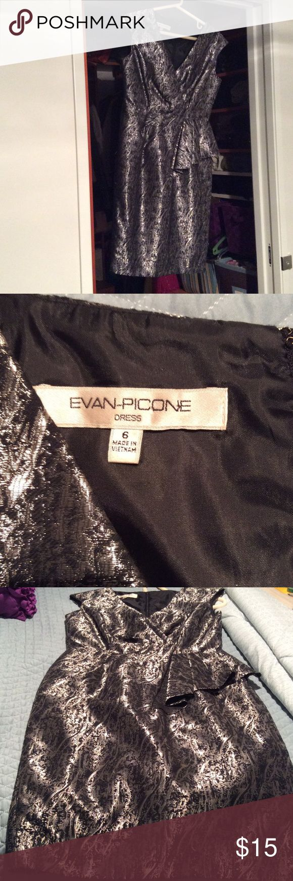 Evan picone dress Beautiful used black and silver dress, perfect for party or wedding, super comfortable, got a lot of complements on it. Evan Picone Dresses Midi
