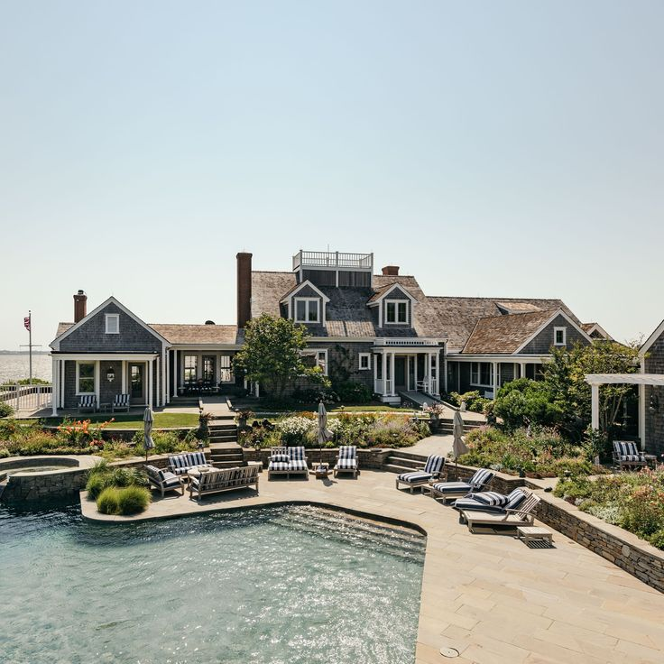 Inside Kourtney Kardashian's Dreamy Nantucket Mansion - Deck / Patio / Porch by the Pool / Yard - House Exterior