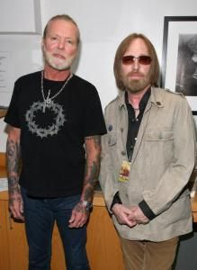 The Allman Brothers Band And The Doobie Brothers In Concert Gregg Allman & Tom Petty pose backstage before they perform in concert with the Allman Brothers Band at the Greek Theater on May 19,2009 in Los Angeles,California.