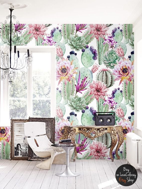 Watercolor cactus flowers removable wallpaper |  Cacti wall mural | Cactus print | floral wall décor | floral repositionable wallcovering