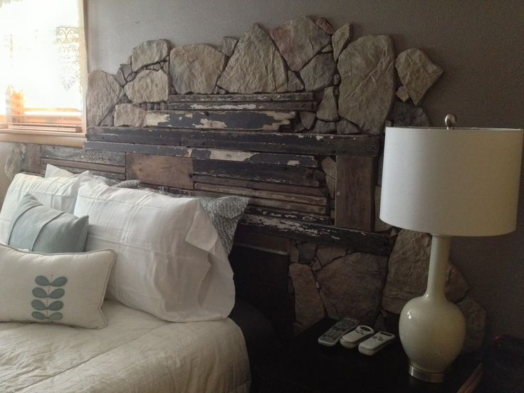 Headboard Made From Barn Wood And Field Stone Diy