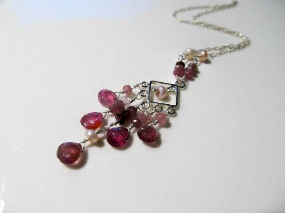 Pink Tourmaline necklace pink tourmaline by JewelsByFairy on Etsy