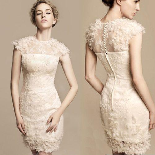 Ivory white lace cap sleeve knee length short sheath for Short lace sheath wedding dress