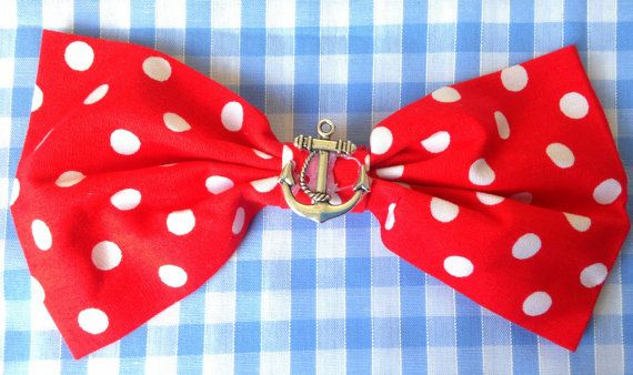 Welcome to LJs Dub Shack  Our Rockabilly Hair Clips are custom made in Brighton.  100% Cotton  Made with cotton, an anchor charm and a x2 inch hair