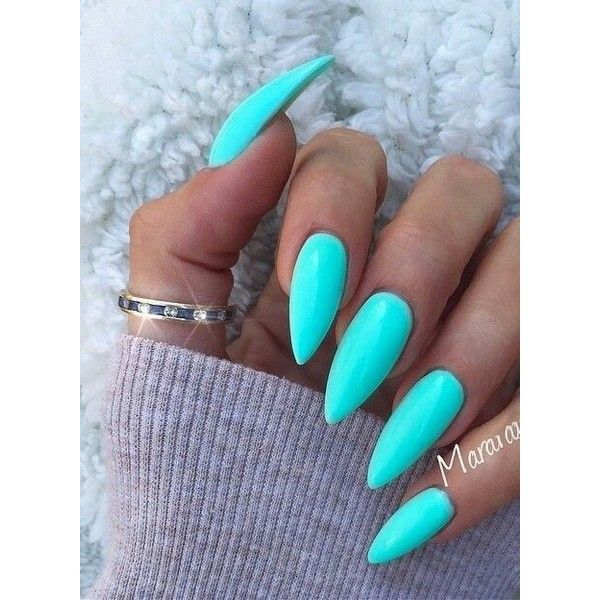 Turquoise stiletto nails ❤ liked on Polyvore featuring beauty products, nail care, nail treatments and nails