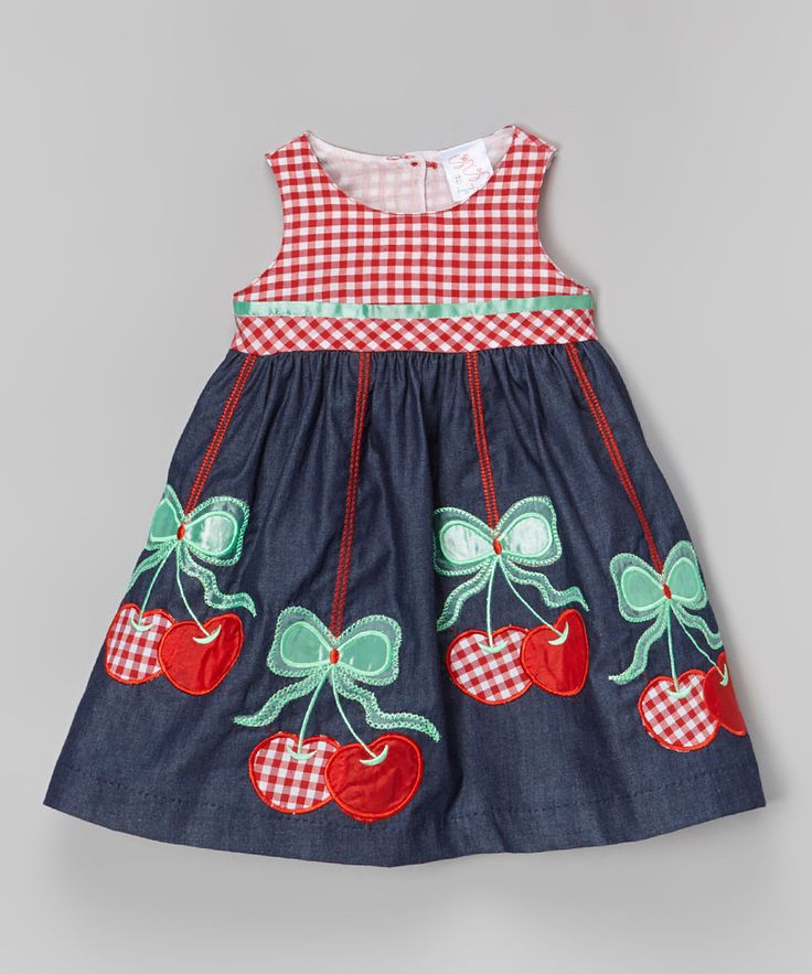 Look at this the Silly Sissy Denim & Red Cherry Babydoll Dress - Toddler & Girls on #zulily today!