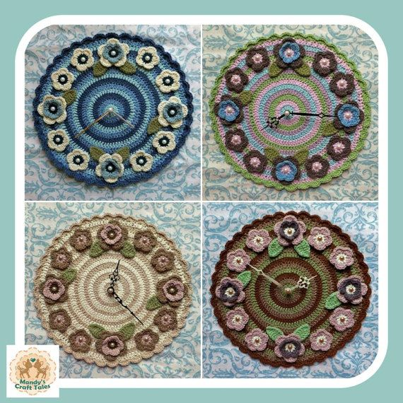 Get your own custom made crochet clock in colours of your choosing. The perfect home decor item.  Clock Wall Clock Crochet Wall Clock Crochet Clock Crochet