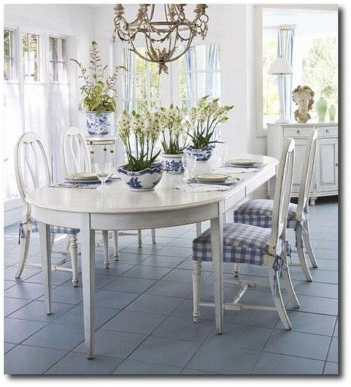 Blue And White Home Swedish Dining Room Set Country