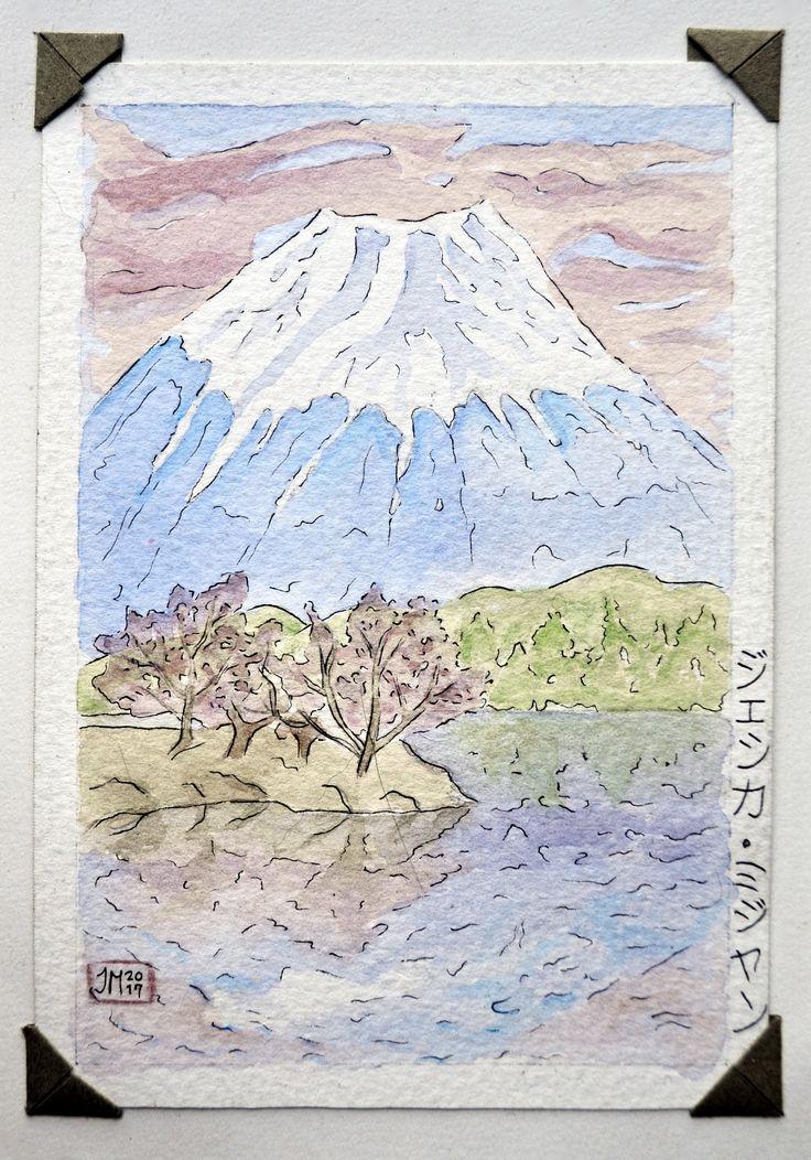 Fuji / Postales/ Acuarela sobre papel por Jessica Millan G
