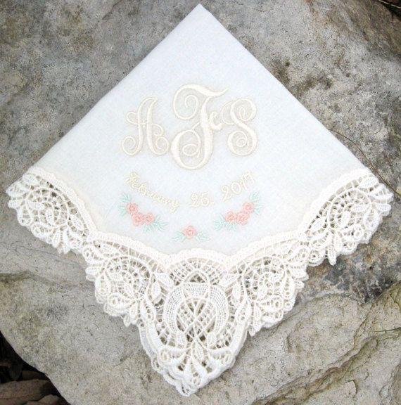 Lovely Wedding Handkerchief for Abigail & Scott ~