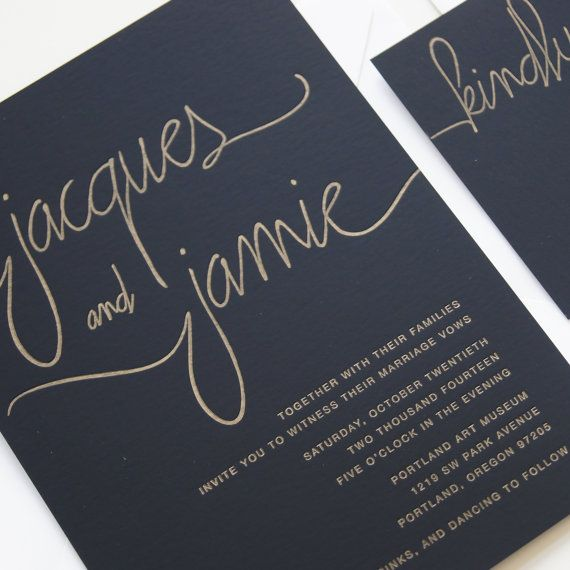 SAMPLE: GOLD Modern Calligraphy Letterpress by luckypennypaperie (this ink and style on a patterned/floral/graphic/watercolor background)
