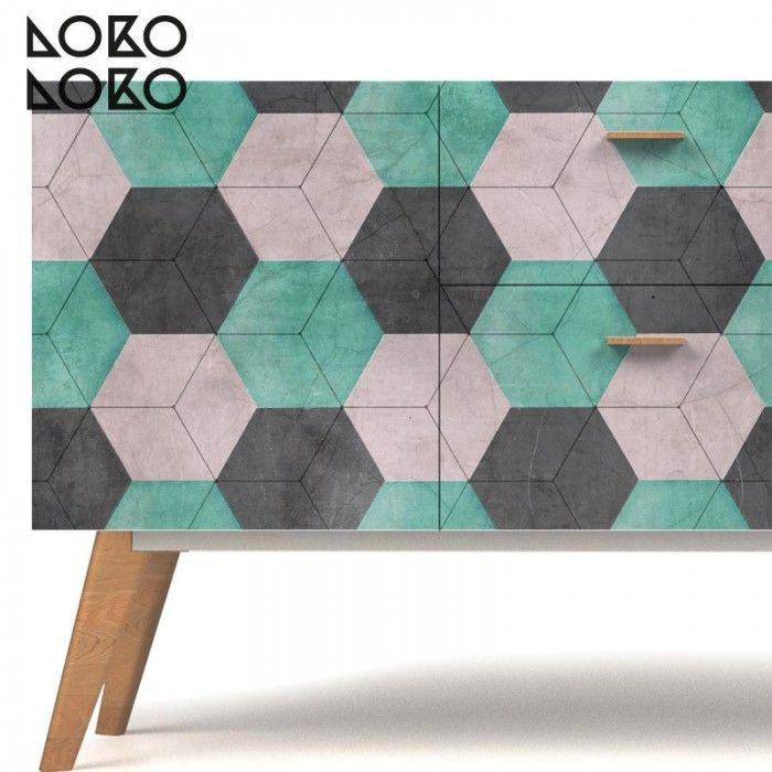 decoracin de aparador con vinilo para muebles de hexgonos cermicos de colores http