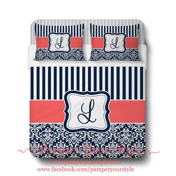 Custom Designed Damask and StripedNavy and Red by PAMPERYOURSTYLE, $139.00 Navy and Coral Bedding