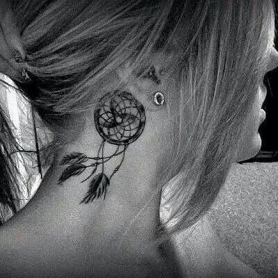 I love this dream catcher and on the neck. I am not one to like tattoos on the neck, but i would get this.