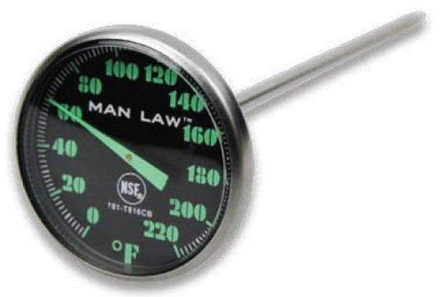 """Man Law MAN-T816CBBQ MAN LAW BBQ series Instant Read Thermometer w.Glow in the dark dial by Man Law. $13.51. Dishwasher safe. 1.6"""" dial size. Stainless steel probe. NSF Listed. Glow in the dark dial and pointer. Instant read gauge with glow in the dark dial"""