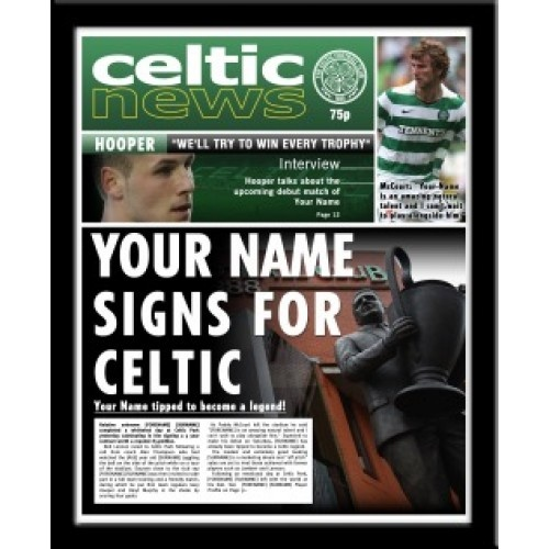Celtic Personalised NewspaperThis is a fabulous present for any Celtic fan and is approved and fully licensed by Celtic FC. Be the star on the front page with this personalised Celtic Newspaper as you become Neil Lennon's new signing. We merge your recipient's details throughout the article text and headlines of the Celtic News. We even include your name in a quote with Hooper and McCourt! A superb gift for any occasion and is sure to make the recipient smile.    Printed in full colour.