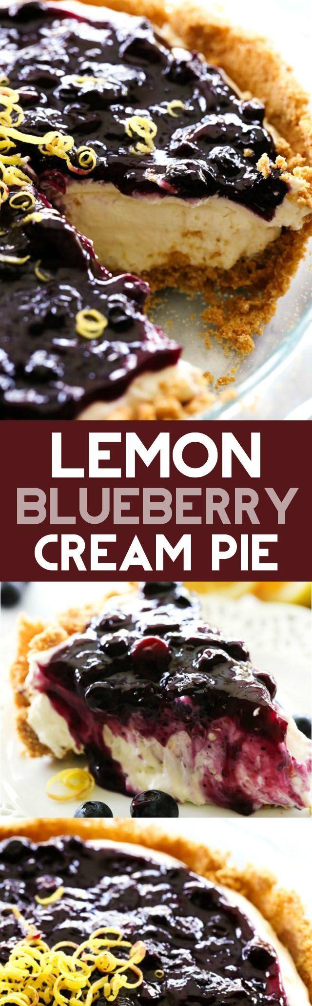 Lemon Blueberry Cream Pie... A delicious and fresh lemon cream pie in ...
