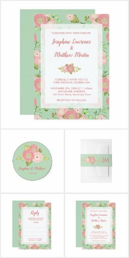 Spring Ranunculus Wedding Collection.  This collection of wedding stationery and gifts features peach ranunculus blooms on a mint background.  #ad