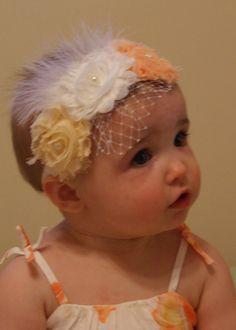 Candy Corn Headband Shabby Rosettes Frayed Baby Hairband Clip Shabby Chic