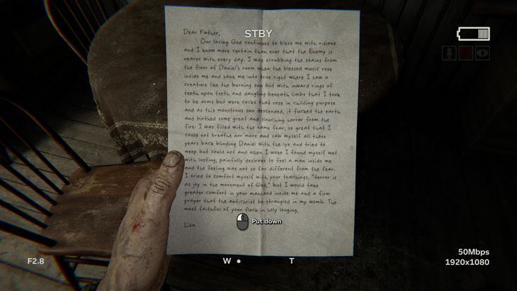 Let this letter set the tone for the whole game... [Outlast 2]