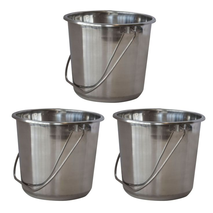 AmeriHome Small Stainless Steel Bucket Set – 3 Piece, Silver