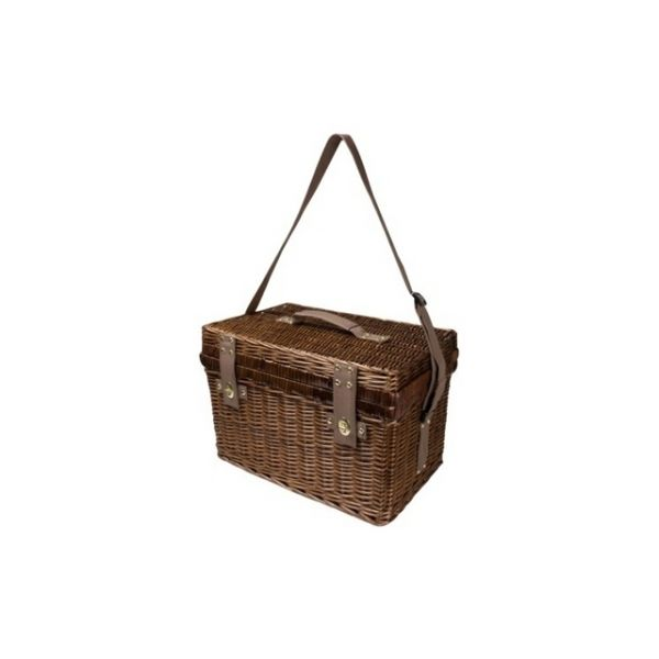 Picnic basket for 4 persons Picnic in style with this wicker picnic basket for 4. Features a shoulder strap and a cooler compartment Product size 47 x 31 x 31 Branding size 4 x 1,8