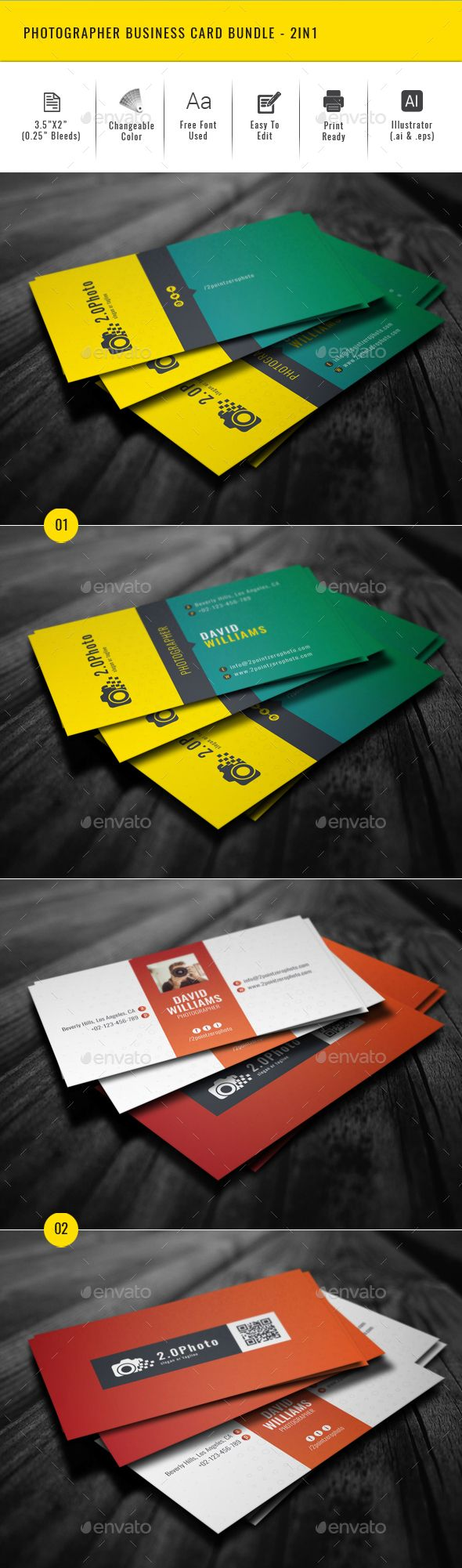 Photographer Business Card Bundle 2in1 Creative Business Card Photographer Business Cards Photography Business Cards Photographer Business Card Template