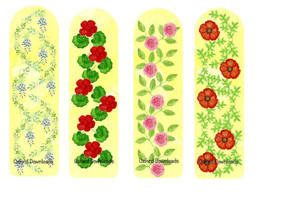 Flower Watercolour Bookmarks Floral Watercolour by OxfordDownloads
