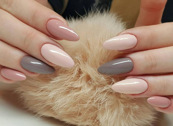 Grey and nude nails                                                                                                                                                                                 More