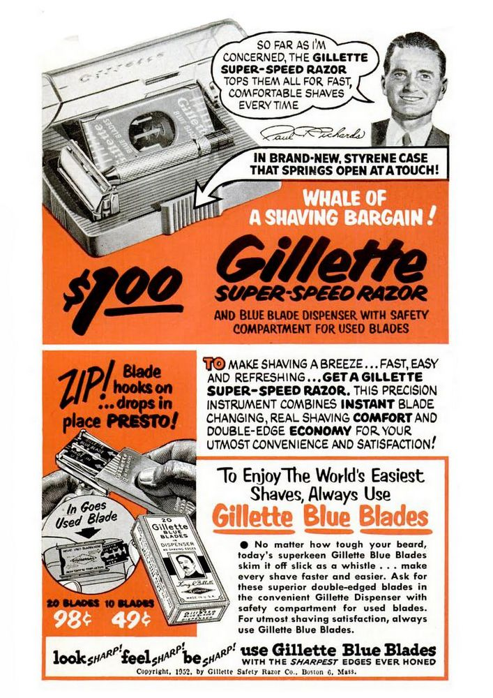 The Gillette blade Wall art. : old shaving product advert Reproduction poster