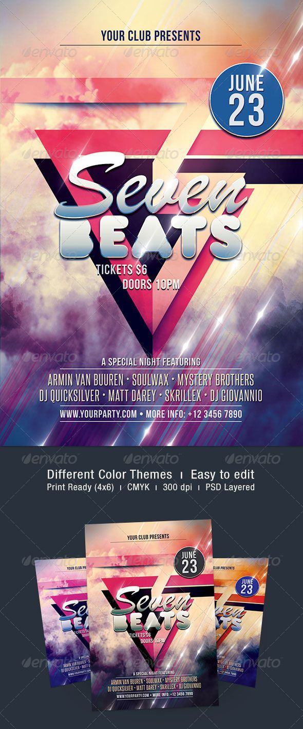 """Seven Beats Flyer  #GraphicRiver           Seven Beats Flyer  The PSD file is very well organized in folders and layers. You can modify everything very easy and quick. Changing the color style, pictures and the typo is no problem. The main folders that will require most customization are highlighted in different colors.  PRINT READY : 1275px x 1875px (4×6"""" with .25"""" bleeds), CMYK , 300DPI, .PSD layered  The free fonts used in the design are:           Bebas Neue          Brush Script MT…"""