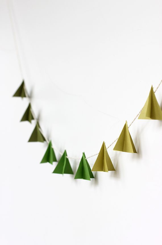 Diy Modern Paper Tree Garland Merry Bright Holiday