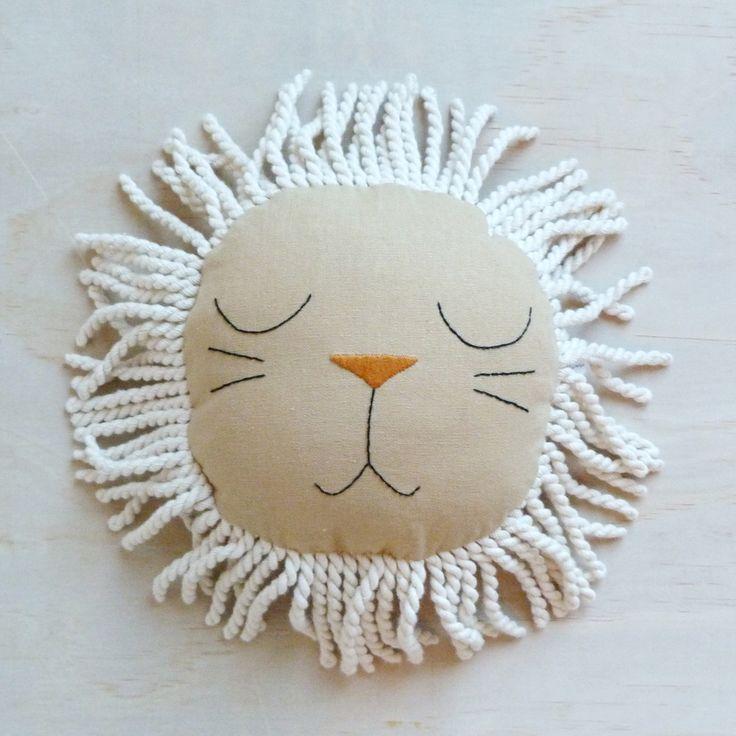 Image of Mini Beige Sleeping Lion Pillow