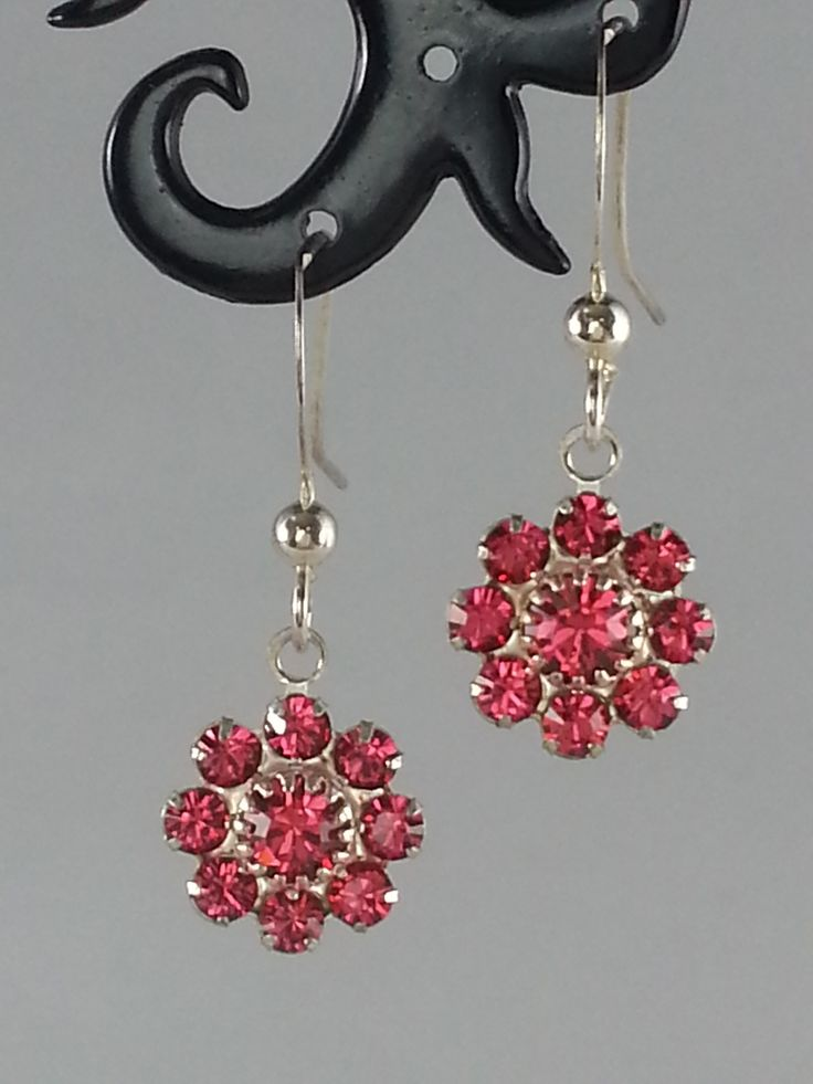 Dark pink Swarovski crystal on sterling silver earrings