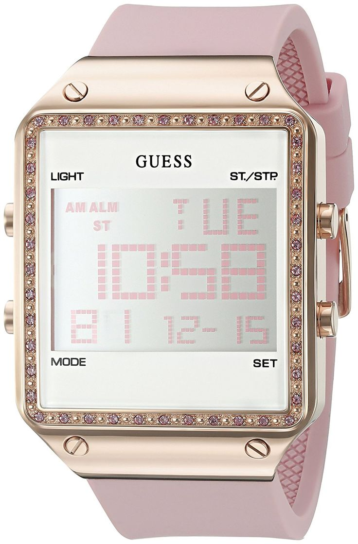 GUESS Women's U0700L2 Digital Pink Silicone Watch with Alarm, Dual Time Zone and Chronograph Functions *** Want additional info for the watch? Click on the image.