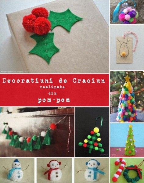 decoratiuni de Craciun din pom-pom