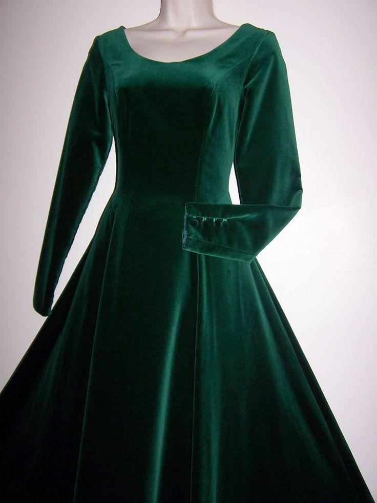 laura ashley vintage jade green velvet maxi dress. Black Bedroom Furniture Sets. Home Design Ideas