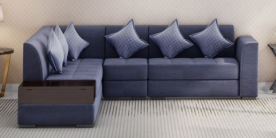 Alvin Rhs Sectional Sofa With Pouffe In Blue Colour By Muebles