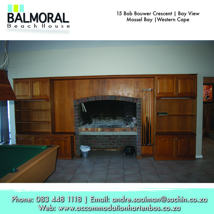 "Don't worry when the weather is bad outside enjoy a ""Braai"" inside the house. Call us at: 083 448 1118 E-Mail: andre.saaiman@sachin.co.za #accommodation #Hartenbos #BalmoralBeachHouse"