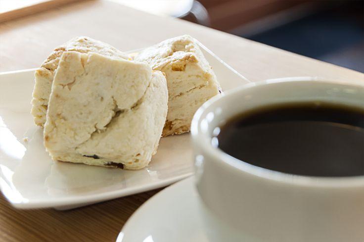 Fruit scone and Kenya coffee.