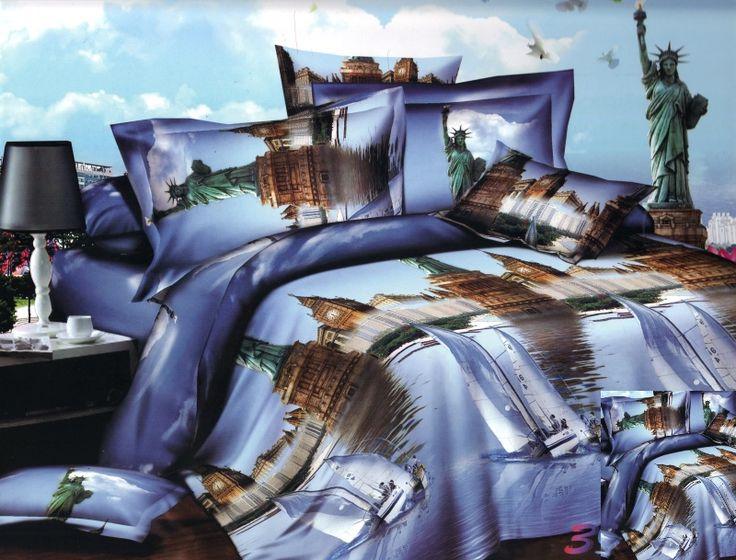 Pościel na łóżko w kolorze wrzosowym z wielkim miastem