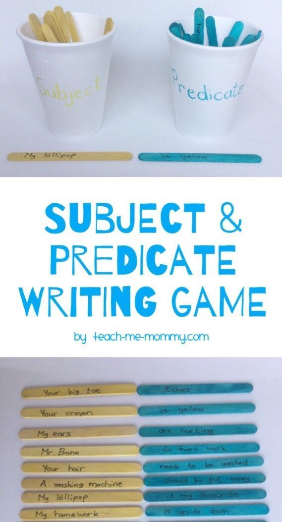 Subject & Predicate Writing Game from craft sticks for elementary students!