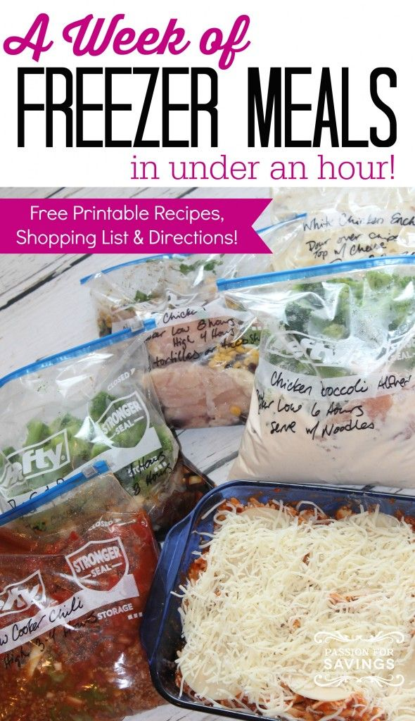 Easy Freezer Meals! A week of Meals in Less than 1 Hour! Included are great Chicken Recipes, Dinner Recipes, and Crockpot Recipes!