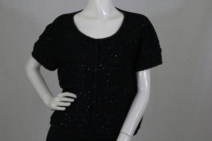 Joseph A. Embroidery and Black Sequin Short Sleeve Sweater Size XL (SKU 000173)