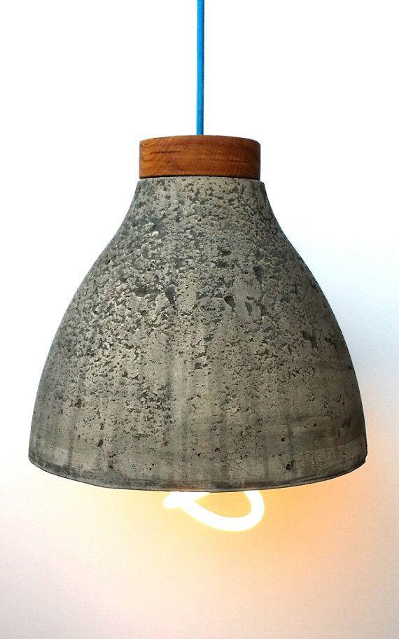 $155 Concrete Pendant Light shade. industrial by MarkJenkinsSculpture