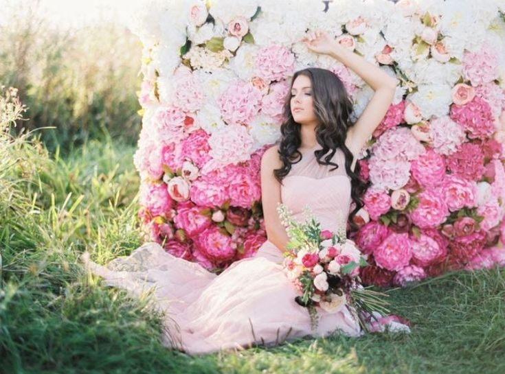 pink ombre flower wall backdrop